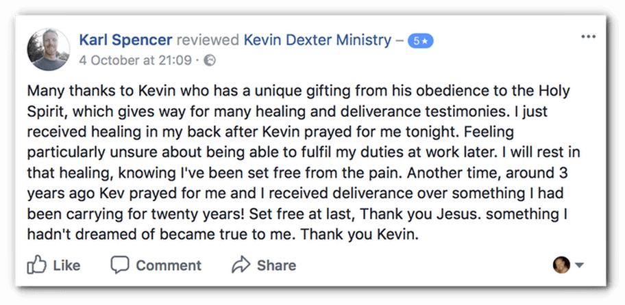 Testimony of back healing from karl UK